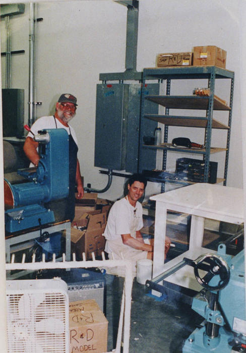 Jeff Haggard and an unidentified worker at the Fender, new model shop.