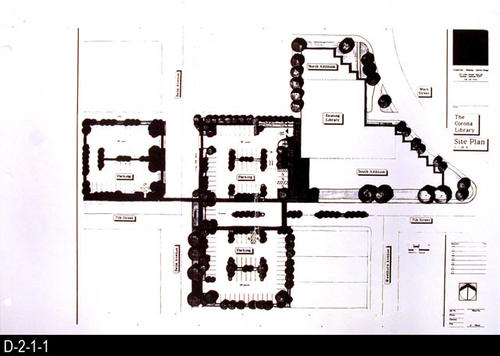 "This record includes only the Main Site Plan. This is part of a blueprint set consisting of five photostats of the original pages for the Corona Public Library.  They show the Main Site Plan, Lower Floor Plan, Main Floor Plan, Mezzanine Plan, Main Street Elevation with the Main Entry Elevation.  SCALE:  1/16"" = 1' - MEASUREMENTS:  11"" X 17"" - CONDITION:  These are photostats of the original and the fine print is non-readable on some plans.  The physical condition of the plans is very good. - COPIES:  1 set"