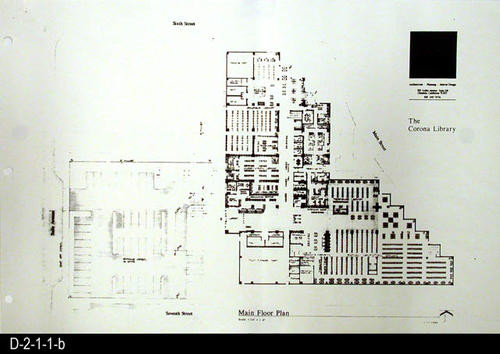"This record includes only the Main Floor Plan. This is part of a blueprint set consisting of five photostats of the original pages for the Corona Public Library.  They show the Main Site Plan, Lower Floor Plan, Main Floor Plan, Mezzanine Plan, Main Street Elevation with the Main Entry Elevation.  SCALE:  1/16"" = 1' - MEASUREMENTS:  11"" X 17"" - CONDITION:  These are photostats of the original and the fine print is non-readable on some plans.  The physical condition of the plans is very good. - COPIES:  1 set"