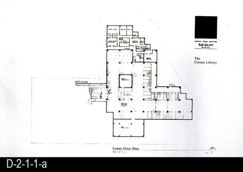 "This record includes only the Lower Floor Plan. This is part of a blueprint set consisting of five photostats of the original pages for the Corona Public Library.  They show the Main Site Plan, Lower Floor Plan, Main Floor Plan, Mezzanine Plan, Main Street Elevation with the Main Entry Elevation.  SCALE:  1/16"" = 1' - MEASUREMENTS:  11"" X 17"" - CONDITION:  These are photostats of the original and the fine print is non-readable on some plans.  The physical condition of the plans is very good. - COPIES:  1 set"