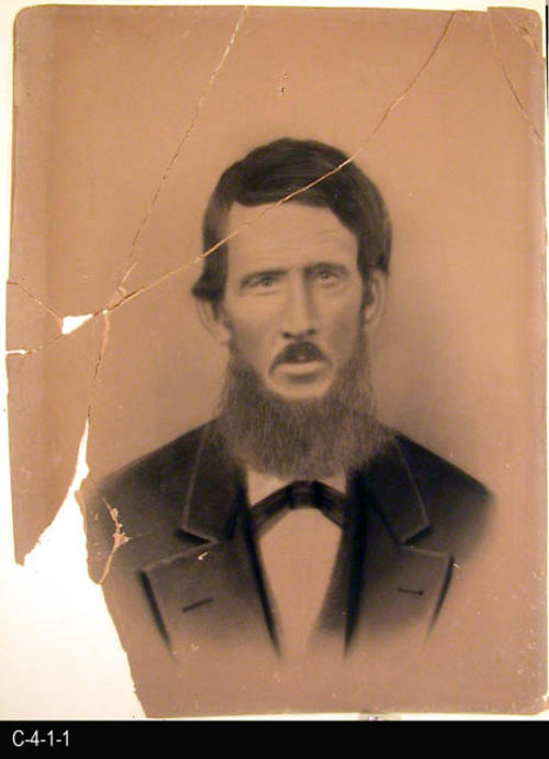 "This artwork is of a man with a full beard dressed in a suit and bow tie.  MEASUREMENTS:  17"" X 14"" - CONDITION:  This artwork is in very poor condition.  It is in numerous pieces and some are missing.  This artwork in kept in a Mylar sleeve.  COPIES:  1.  A digital restoration of this artwork is available."