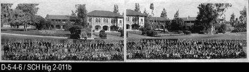 "This is a photostatic copy of a composite photo showing the Corona Sr. High School on 6th Street on the top portion of the picture and the Student Body on the bottom portion of the picture.  MEASUREMENTS: (2) 11"" X 17"" - CONDITION:  The print legibility is excellent.  This photo is in two separate pieces - COPIES:  This is copy number 2. (Source ID:  D-5-4-5 is an original photo)"