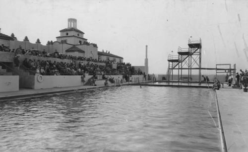 A view of the Club swimming pool. The Lake Norconian Club was built by architect Dwight Gibbs for Rex B. Clark in 1928. It was constructed over 700 acres and featured a lake, Olympic sized swimming pools, hot mineral baths, and even an airfield. Ornate ballrooms, stately rooms and elegant art contributed to the $4 million price tag of the Club, which was designed for the rich and famous. Celebrities such as Walt Disney, Bob Hope, and Johnny Weismueller vacationed at the Norconian. After the Great Depression, the Club could not afford to stay open, and days before the start of the Second World War, the Navy purchased the land and turned it into a naval hospital, where many veterans went to recuperate after the war.