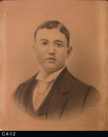 Charcoal over photograph - c. 1890's to early 1900's - Man  - Clean Shaven