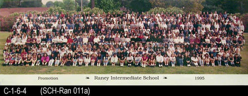 "1995 group promotion photo for Raney Intermediate School.  MEASUREMENTS:  8"" X 24"" - CONDITION:  Photo is laminated and in excellent condition. - COPIES:  1."