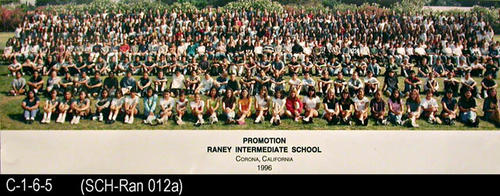 "1996 group promotion photo for Raney Intermediate School.  MEASUREMENTS:  8"" X 24"" - CONDITION:  Photo is laminated and in excellent condition. - COPIES:  1."