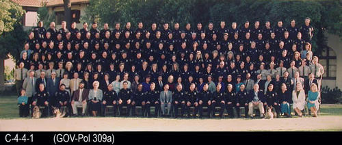 "This photograph is a group picture of the entire Corona Police Department in front of the City Hall.  MEASUREMENTS:  7 1/2"" X 20"" - CONDITION:  Very Good - COPIES:  1."