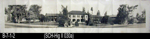 "This B/W photo is a panoramic view of Corona Senior High School in the mid 1930's.  This site later became the Corona City Hall. On the back of this photograph is a typewritten identification of the buildings in the picture. (Note:  The Resource ID number is SCH-Hig (Roman Numeral 2--not the numeral 11) 030a.   - MEASUREMENTS: 8"" x 36"" - CONDITION:  The photo is very sharp; however, about every 3 1/2"" is a vertical crease the height of the picture.  This photograph is kept in a Mylar sleeve.  - COPIES:  1."