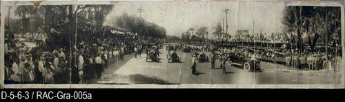 "This photo shows the start of the medium and heavyweight vehicles at the Corona Road Races.  MEASUREMENTS:  7 3/4"" X 33"" - CONDITION:  This photo is in a Mylar envelope.  This photo is in a deteriorating condition.  There are 14 vertical creases on this photograph. There are three places on the top edge where pieces are missing from the border.  It is very fragile.  COPIES:  This is copy 1.  Note:  This photo is identical to Resource ID: RAC-Gra-055b - Source:  D-5-6-2."