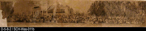 "This photograph is a picture of the Washington School  student body taken in front of the school.  The school was located on Grand Blvd. between 3rd and 4th Street.  MEASUREMENTS:  6 3/4"" x 36"" - CONDITION:  This photo is in a protective sleeve. The lower left corner is torn off.  The photo has water damage and is faded as well as being torn in the middle.  - COPIES:  1."