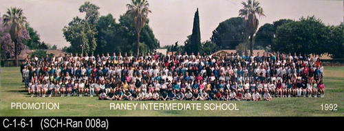 "1992 group promotion photo for Raney Intermediate School.  MEASUREMENTS:  8"" X 24 1/4"" - CONDITION:  Photo is laminated and in excellent condition. - COPIES:  1."