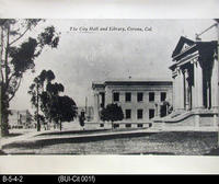 Photo - Photo of Postcard Showing the Corona City Hall and Library
