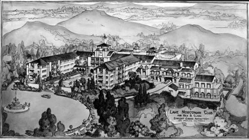 Drawing of the Lake Norconian Club by the architect. The Lake Norconian Club was built by architect Dwight Gibbs for Rex B. Clark in 1928. It was constructed over 700 acres and featured a lake, Olympic sized swimming pools, hot mineral baths, and even an airfield. Ornate ballrooms, stately rooms and elegant art contributed to the $4 million price tag of the Club, which was designed for the rich and famous. Celebrities such as Walt Disney, Bob Hope, and Johnny Weismueller vacationed at the Norconian. After the Great Depression, the Club could not afford to stay open, and days before the start of the Second World War, the Navy purchased the land and turned it into a naval hospital, where many veterans went to recuperate after the war.