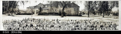 "This B/W photograph is a picture of the Lincoln School  student body taken at the school. This is a two-part picture with the school campus shown in the top half of the photo and the student body in the bottom half. - MEASUREMENTS:  8"" x 31 3/4"" - CONDITION: Good. This photo is in a protective sleeve.  - COPIES:  1."