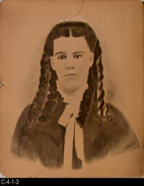 "This artwork is of a young lady with her hair in long curls.  MEASUREMENTS:  17"" X 14"" - CONDITION:  This artwork is in very poor condition.  Lower left hand corner is badly damaged, and there is damage to the middle of the left edge.  This artwork in kept in a Mylar sleeve.  COPIES:  1.  A digital restoration of this artwork is available."