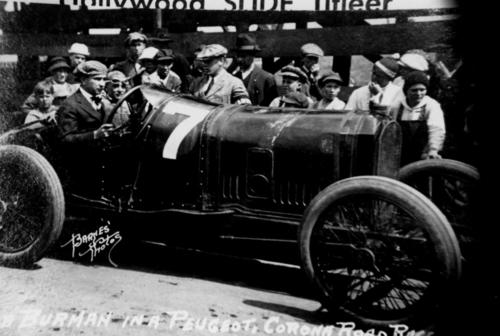 Bob Burman in his #7 Peugeot before fatal 1916 race.  Boy at the back of the hood, in checkered cap on left, is Don Sherman.