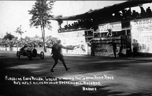 Winning the 1914 race at the average time of 86.5 miles per hour.  Eddie Pullen breaking all records.