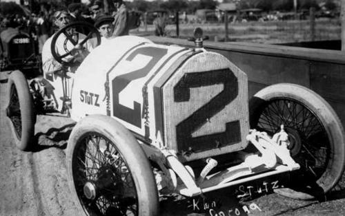 Driver Klein in his Stutz race car.