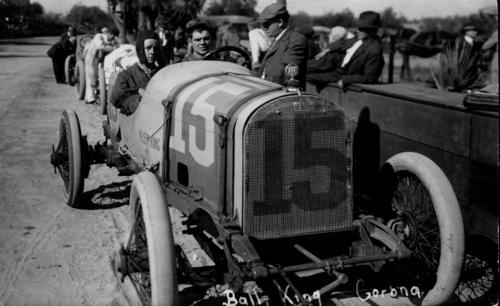 Picture postcard of the 1914 Corona road race with Harry Grant and a passenger in a Sunbeam race car #9.