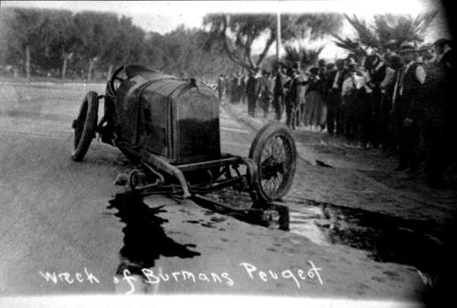 Bob Burman's Peugeot was wrecked.  He was killed in this accident.