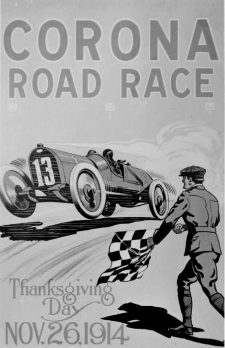 Copy of the Corona Road Race Poster held on Thanksgiving Day, 1914.