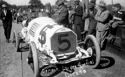 "Photo of the #5 race car and its driver.  Note on bottom of photo says ""Gordon, Gordon Special Corona."""