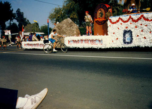 The Boy Scout Troop 251 float in the Corona Centennial Parade.