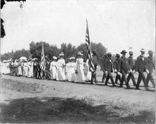 "Memorial Day Parade, ""Grand Army and Daughters.""  The man in the photograph marked with an ""X"" is supposed to be John Taber."