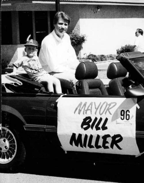 The Mayor's float in the Cinco de Mayo Parade.  It is Mayor Bill Miller.
