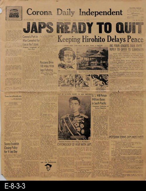 "The lead stories on page 1 relate to the events of WWII and the surrender of Japan.  The remainder is devoted to international, national, state and local news and advertising.  PAGES:  6, MEASUREMENTS:  22"" X 17 1/2"", CONDITION;  Slight discoloration of the newsprint, minor damage to the edges.  Evidence of general wear and tear.  COPIES:  1."