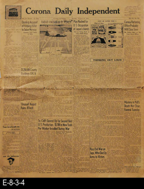 "This is a general edition of the newspaper.  Front page articles relate to aspects of WWII as well as other international and local news.  PAGES:  6, MEASUREMENTS:  22"" X 17 1/2"", Condition:  Only slight browning of the newsprint.  Some damage to the newspaper's edges.  There are several vertical tears going through the center crease. Evidence of general wear and tear.  COPIES:  1"