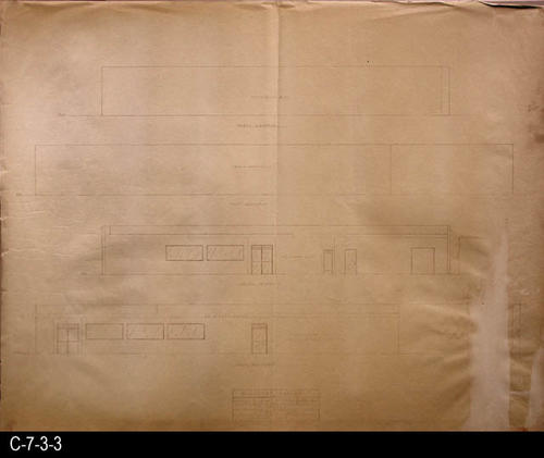"This blueprint is the elevation plan for the market.  MEASUREMENTS:  30"" X 38"" - CONDITION:  C-7-3-3 has a white area on the right side the has all but erased the plan drawing.  C-7-3-3b shows some wear and tear but  is in a better overall condition.  The paper on both copies is taking on a brownish tone. - COPIES:  2"