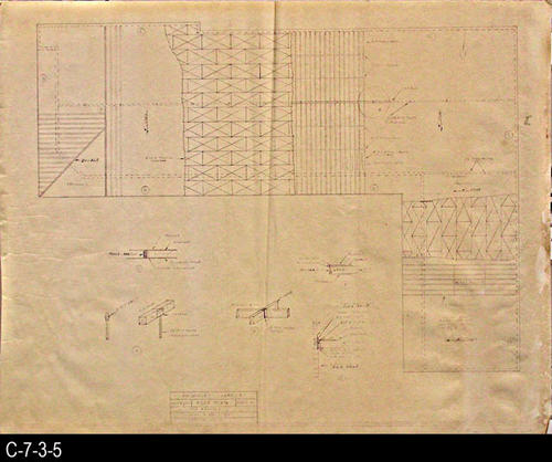 "This blueprint is the roof plan for the market.  MEASUREMENTS:  30"" X 38"" - CONDITION:  C-7-3-5 has some water damage extending in from the right edge.  The plan is fully legible.  C-7-3-5b shows some wear and tear but  is in a better overall condition.  The paper on both copies is taking on a brownish tone. - COPIES:  2"