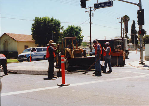 "Construction crew at 6th Street in Corona.  Photo taken by a UCR student for ""A Day in the Life of Corona."""
