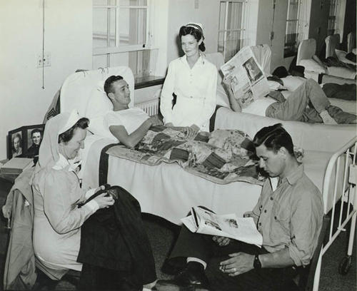 Ward at a naval hospital.  The Red Cross.