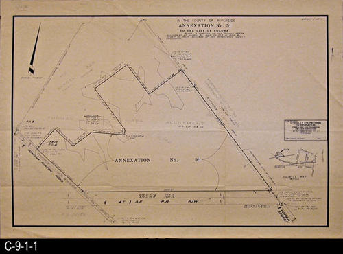 "This map shows the area annexed by the County of Riverside under Annexation No. 54 to the City of Corona.  MEASUREMENTS:  18"" X 26"" - CONDITION:  This map is in very good condition. - COPIES:  1."