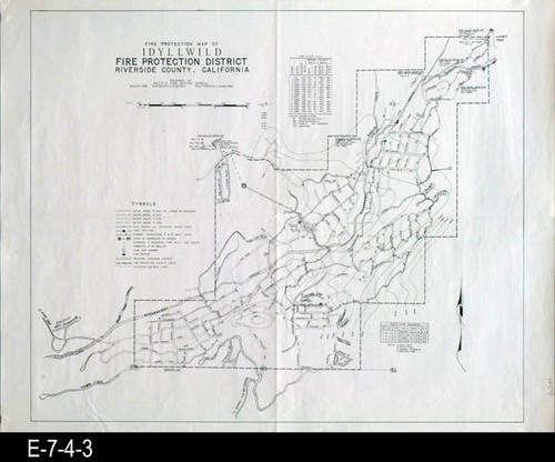 "This map shows the location of water mains, hydrant connection, tanks, reservoirs on ground, and fire stations in addition to statistical information.  MEASUREMENTS:  17"" X 22"", CONDITION:  Very good, COPIES:  1."