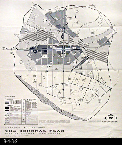 "This map is the General Plan for the City of Corona.  The map legend in the lower left hand corner gives information on the following:  Residential, Commercial, Industrial, Open and Conservation, Public and Institutional, and Transportation. A handwritten notation on the map reads:  Out of date - Historical. - MEASUREMENTS:  27"" x 24"" - CONDITION:  Very Good - COPIES: 1 - MAP ORIENTATION:  Top is NORTH."