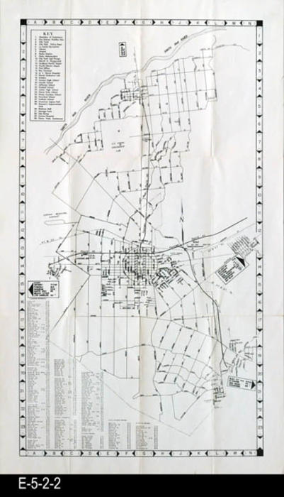 "This is a street map with index for the given cities.  The back side of the map gives information about the growth of Corona and a listing of places of worship and other clubs and community groups.  There is an ariel view of the Grand Blvd circle.  MEASUREMENTS:  27"" X 16"" CONDITION:  All maps are fully legible.  Copies 5 and 6 show paper discoloration on a small area of the back side.  Copy 6 shows the most deterioration., COPIES: 6"