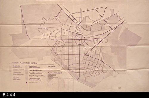 "This map is the General Plan for the City of Corona.  The map legend in the lower left hand corner gives information on the following:  Residential, Commercial, Industrial, Agriculture/Rural Residence, Parks and Open Space, Flood Control Basin, Slope Management Area, Geologic Hazard Management Area, Circulation (Traffic Flow), and Public and Institutional. A hand written notation on the map states:  ""Out of date - Historical."" - MEASUREMENTS:  42 1/2"" x 70 1/2"" - CONDITION:  Very Good - COPIES: 1 - MAP ORIENTATION:  Top is NORTH."
