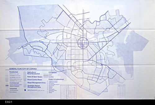 "This map is the General Plan for the City of Corona.  The map legend in the lower left hand corner gives information on the following:  Residential, Commercial, Industrial, Agriculture/Rural Residence, Parks and Open Space, Flood Control Basin, Slope Management Area, Geologic Hazard Management Area, Circulation (Traffic Flow), and Public and Institutional.  This is the 22nd revision of this map. - MEASUREMENTS:  42"" x 68"" - CONDITION:  Very Good - COPIES: 1 - MAP ORIENTATION:  Top is NORTH."