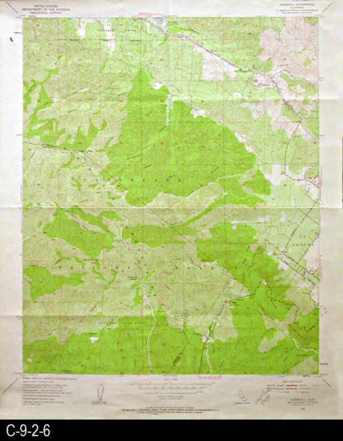 "This map is published by the U. S. Geographical Survey.  This map has an area of Orange County and the Cleveland National Forest.  MEASUREMENTS:  22"" X 26 1/2"" - CONDITION:  Very good, but in the top left margin area there is a small hole.  - COPIES:  1 - MAP ORIENTATION: Top is North."