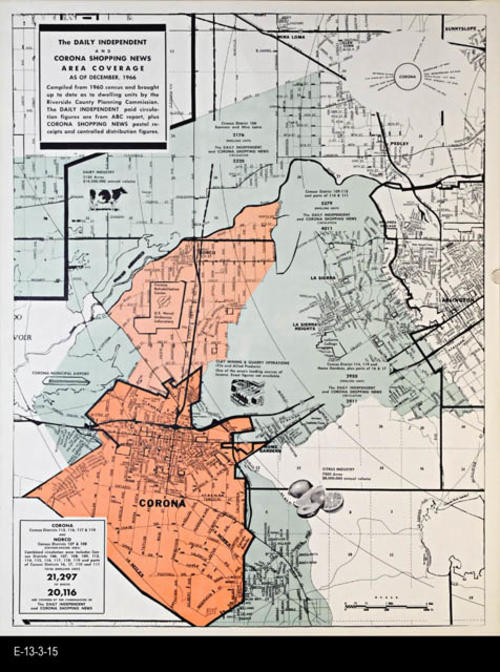 "This map shows the area by the combined publications:  The Daily Independent and the Corona Shopping News.  This map is based on the 1960 Census.  MEASUREMENTS:  22"" X 17"" - CONDITION:  Very Good - COPIES:  4 - MAP ORIENTATION:  Top is NORTH."