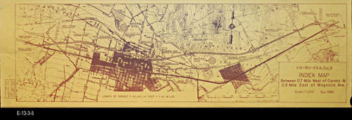"This map is an index map showing an area between 0.7 Mile West of Corona and 0.3 Mile East of Magnolia Avenue.  - MEASUREMENTS: 11"" x 36"" - CONDITION:  Good - Copies 1 - MAP ORIENTATION:  Top is NORTH"