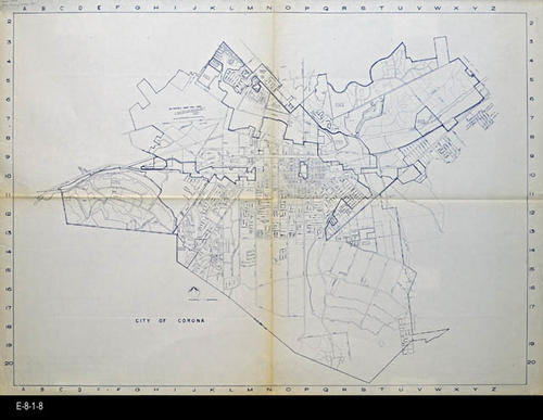 "This map is an unindexed street map of the City of Corona.  While there is no index, the streets are named.  MEASUREMENTS:  42"" X 58"" - CONDITION:  Very good. - COPIES:  1."