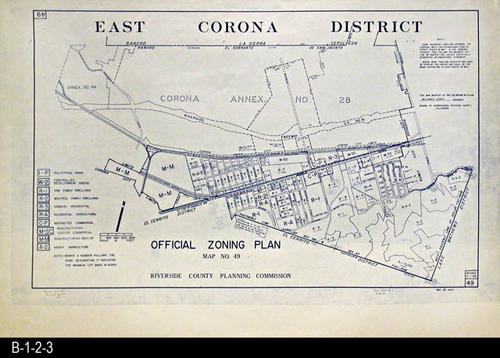 "This is the Official Zoning Plan, Map No. 49.  The main area covered by this area is where McKinley St. meets Magnolia Ave. This map was adopted by Ordinance No. 348.384 on 08/02/1965. - MEASUREMENTS:  27 1/2"" x 41 1/2"" (Measurements do not include the folded flap at the bottom of the map.)  - CONDITION:  Excellent. - COPIES: 1 - MAP ORIENTATION:  Top is NORTH."
