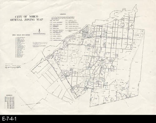 "This map shows the zoning for the city of Norco, CA. The map has a legend and open space sup-zones. MEASUREMENTS:  11"" X 15"", CONDITION:  Good, COPIES: 1."