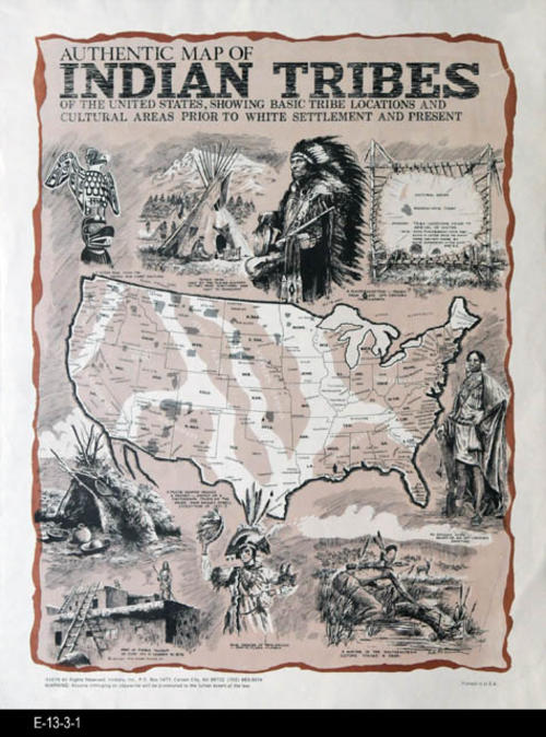 "This is a map showing the Indian Tribes of the United States, showing basic tribe locations and cultural areas prior to white settlement and present.  MEASUREMENTS:  14"" X 10 3/4"" - CONDITION:  Excellent - COPIES:  1 - MAP ORIENTATION:  Top is NORTH."
