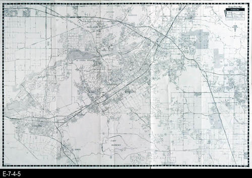 "This map folds down to 7 1/2"" x 4"".  When fully open it measures 25"" x 38"".  One side of the map is the full street map of Riverside County with a street index on the back side.  Also, on the back side are small inset maps for selected areas. CONDITION:  Good, COPIES: 1."