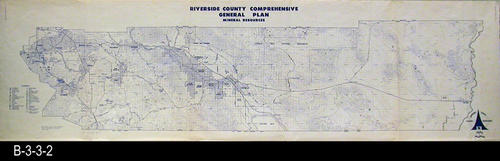 "This map shows mineral resources for Riverside County. The map legend lists thirty different minerals. - MEASUREMENTS: 36"" x 100"" - CONDITION:  Good  - COPIES:  1 - MAP ORIENTATION:  Top is NORTH"
